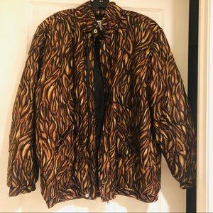 Vintage animal print silk bomber jacket